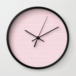 Blush Pink Greek Key Pattern  Wall Clock