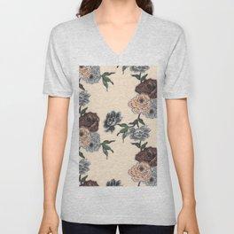 Brush floral pattern flowers with smoke Unisex V-Neck
