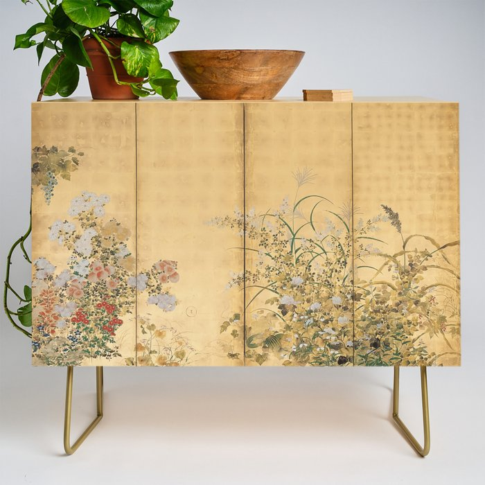 Japanese Edo Period Six-Panel Gold Leaf Screen - Spring and Autumn Flowers Credenza