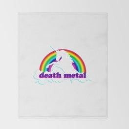 Funny Death Metal Unicorn and Rainbow Throw Blanket