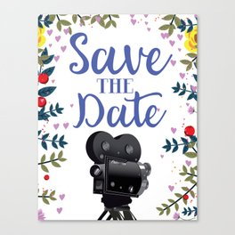 Save the Date vintage movie camera Canvas Print
