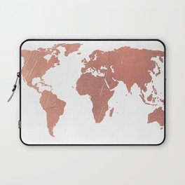 Faux Rose Gold World Map Laptop Sleeve