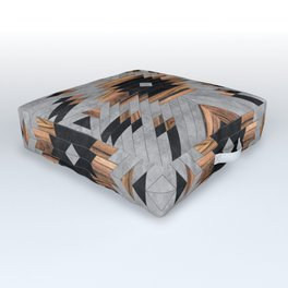 Urban Tribal Pattern No.6 - Aztec - Concrete and Wood Outdoor Floor Cushion