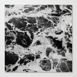 Black and White Waves Canvas Print