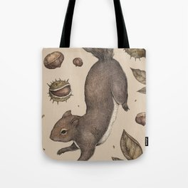 The Squirrel and Chestnuts Tote Bag