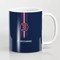 f1 Mugs featuring F1 2015 - #3 Ricciardo by MS80 Design