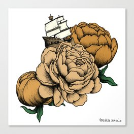 Sailing a Sea of Peonies - Vintage Yellow Canvas Print