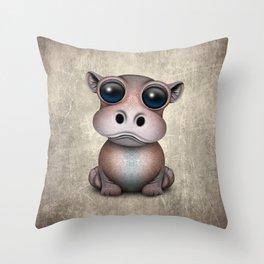 Cute Baby Hippo Throw Pillow