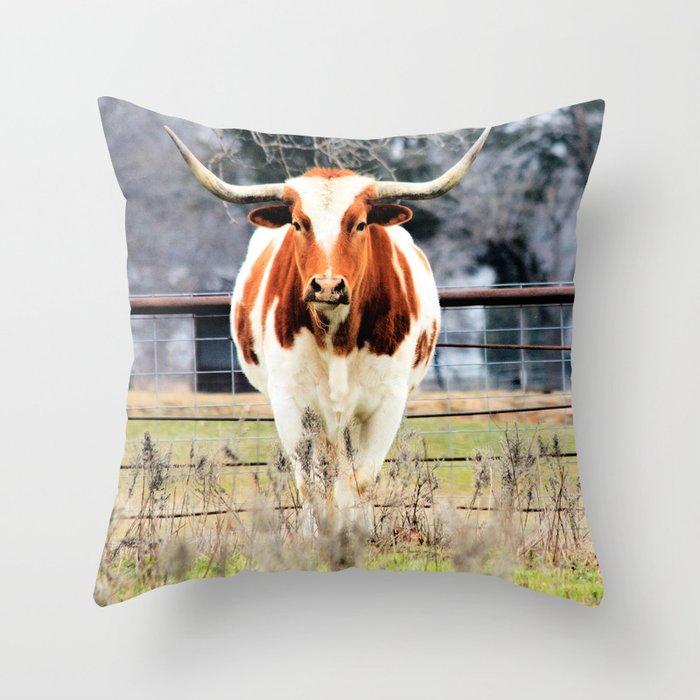 Texas Longhorn Morning Throw Pillow