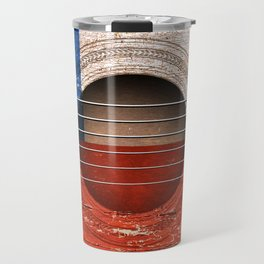 Old Vintage Acoustic Guitar with Chilean Flag Travel Mug