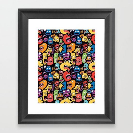 Monster Faces Pattern Framed Art Print
