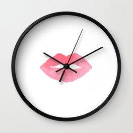 MAKEUP PRINT Pink Lips Watercolor Print Fashion Poster Abstract Lips Art Lipstick Chic Wall Clock
