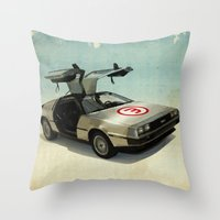 delorean Throw Pillows featuring Number 3 - DeLorean by Vin Zzep
