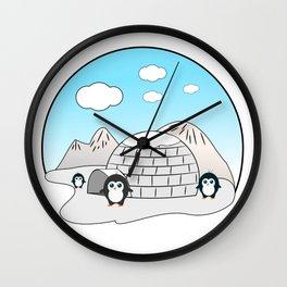 Cute penguins Wall Clock