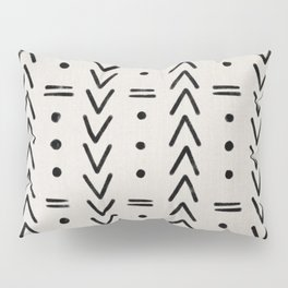 Mudcloth Black Geometric Shapes in White  Pillow Sham