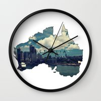 australia Wall Clocks featuring Australia by elysiancreations