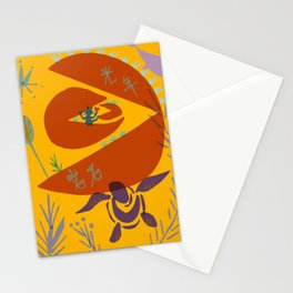 cat riding meteorite Stationery Cards