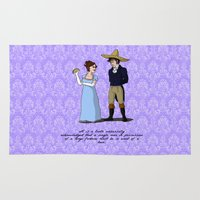 pride and prejudice Area & Throw Rugs featuring Pride and Prejudice and Tacos by mikaelak