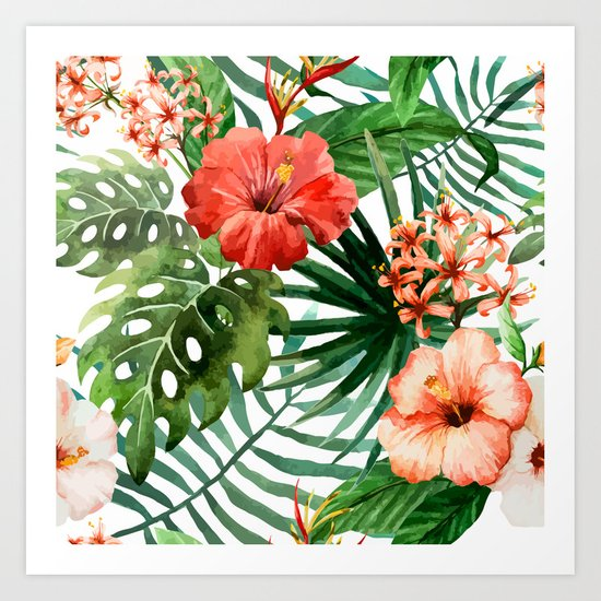 Hibiscus and Palm Leaf Pattern Art Print