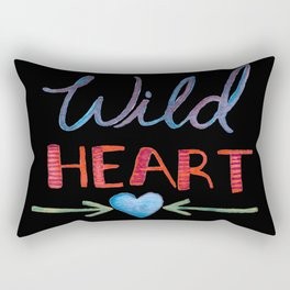 Watercolor - WILD HEART GYPSY SOUL - black background, Hand Lettering Rectangular Pillow