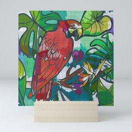 Red parrot macaw tropical print Mini Art Print