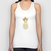 golden Tank Tops featuring Golden Pineapple by Pati Designs & Photography