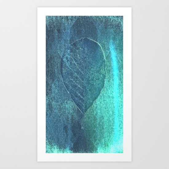Light blue teal tonnes with an abstract leaf  Art Print