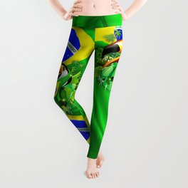 Toco Toucan with Brazil Flag Leggings