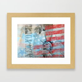 Lady Liberty Stars and Stripes Patriotic Artwork Framed Art Print