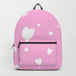 Hand-Drawn Hearts (White & Pink Pattern) Backpack