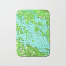 Vintage Map of Lake Winnipesaukee (1956) Bath Mat