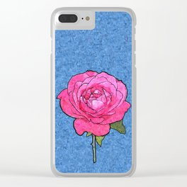 Pink Rose Cartoon Clear iPhone Case