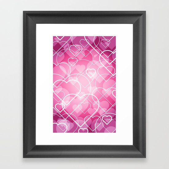 Hard line Heart Bokeh Framed Art Print