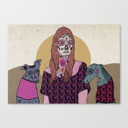 Sugar skull mermad and dogs Canvas Print