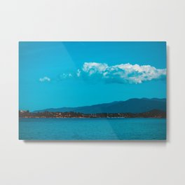 Mountains and sea with big clouds Metal Print