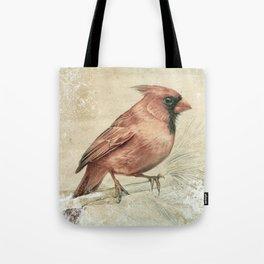 Snowy Northern Cardinal Tote Bag