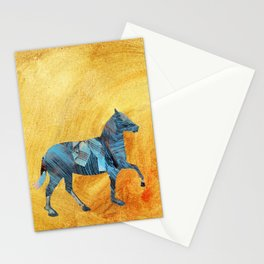 Blue horse passing window Stationery Cards