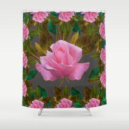 LEAFY PINK ROSE GARDEN & GREY PATTERNS ART Shower Curtain