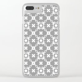 White floral vines on grey Clear iPhone Case