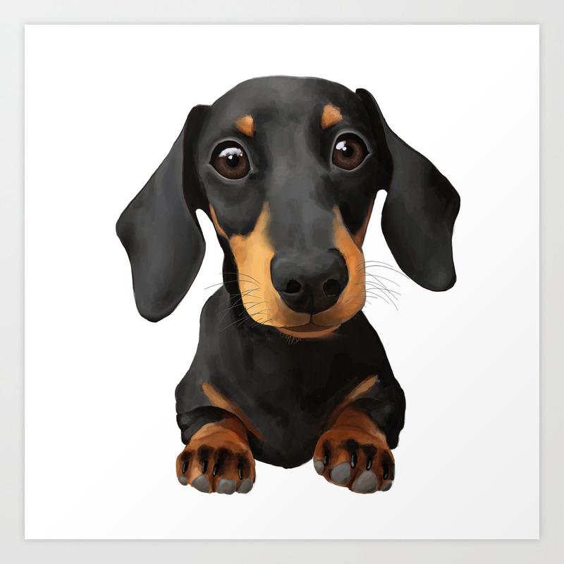 Cute Sausage Dog Art Print By Peachyteastore Society6