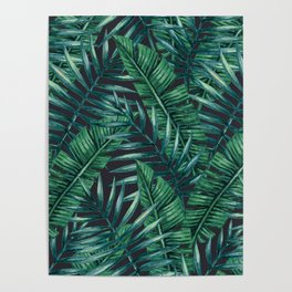 Palm and Banana Leaf Tropical Pattern Poster