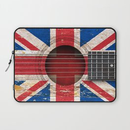 Old Vintage Acoustic Guitar with Union Jack British Flag Laptop Sleeve
