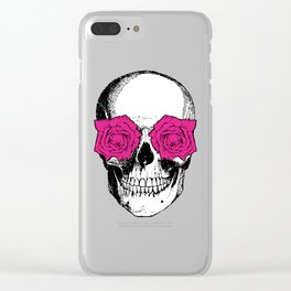 Skull and Roses | Skull and Flowers | Vintage Skull | Grey and Pink | Clear iPhone Case