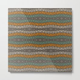 Mosaic Wavy Stripes in Olive, Terracotta, Taupe and Brown Metal Print