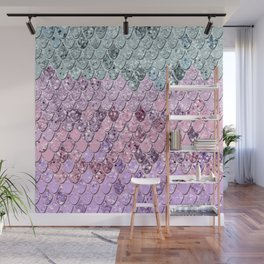 Mermaid Scales with Unicorn Girls Glitter #4 #shiny #pastel #decor #art #society6 Wall Mural