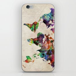 World Map Urban Watercolor iPhone Skin