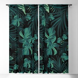Tropical Jungle Night Leaves Pattern #1 (2020 Edition) #tropical #decor #art #society6 Blackout Curtain