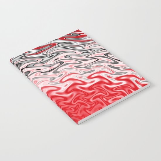 Fractal Rise in Red Black and White Notebook