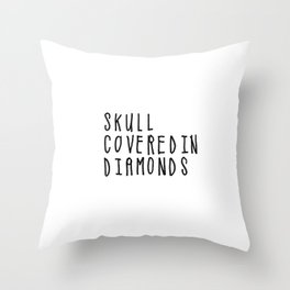 Skull Covered in Diamonds Throw Pillow