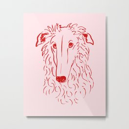 Borzoi (Pink and Red) Metal Print